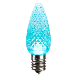C9 Faceted LED Teal Bulb .96W