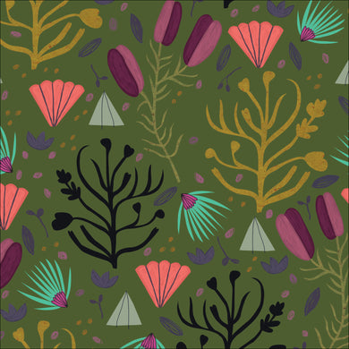 Cloud9 Fabrics Organic Forest Jewels Fallen Fruit Olive Fabric
