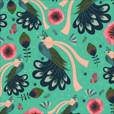 Cloud9 Fabrics Organic Forest Jewels Peacock Bows Turquoise Fabric