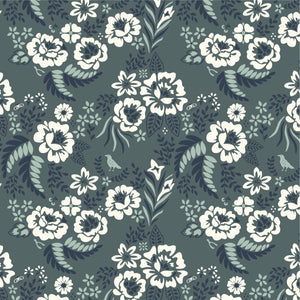 Merry Floral in Slate Canvas - Prickly Pear Fabrics