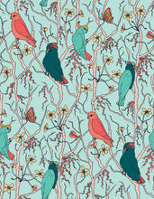 Load image into Gallery viewer, Cockatoos Peaches Pears Branches Sea Green Fabric