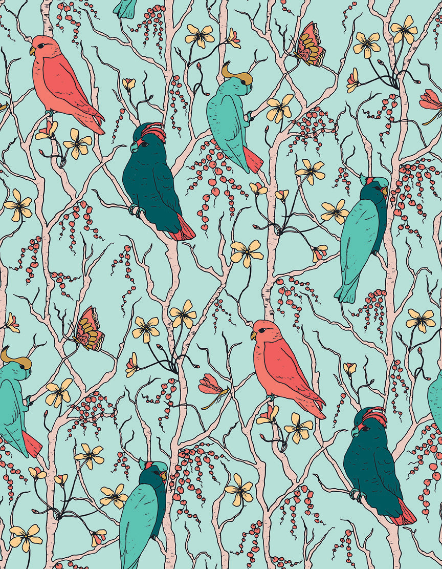 Cockatoos Peaches Pears Branches Sea Green Fabric