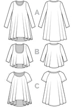 Load image into Gallery viewer, Ebony T-Shirt & Knit Dress Paper Pattern - Prickly Pear Fabrics