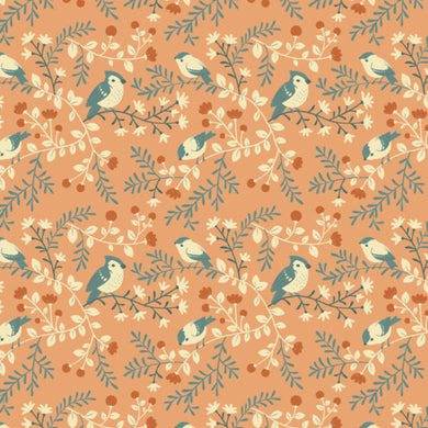 Birds and Branches Coral - Best of Teagan White - Birch Fabrics
