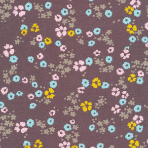Scattered Floral Brown Knit - Prickly Pear Fabrics