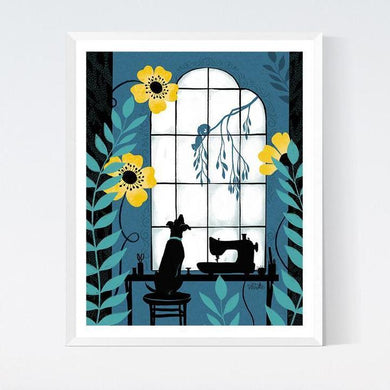 Craftedmoon Window Pup Art Print