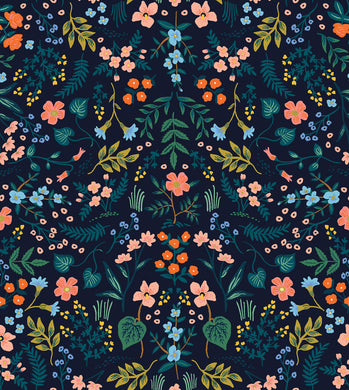 Rifle Paper Co. Wildwood - Navy Metallic Fabric