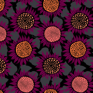 Front Yard - Sunflowers Purple Jersey Knit Fabric