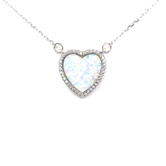 Sterling Silver White Opal Heart Necklace