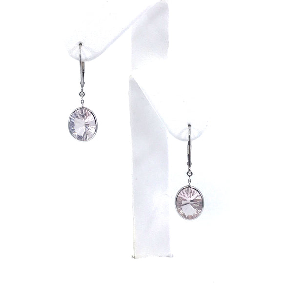14K White Gold Oval Earrings