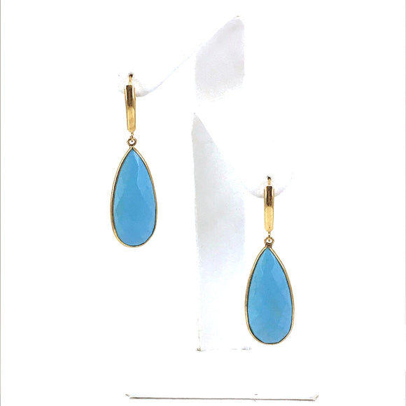 14K Gold and Turquoise Teardrop Earrings