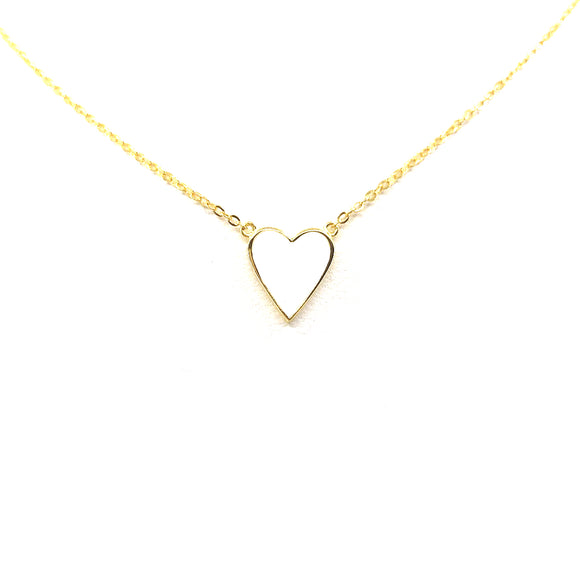 Sterling Silver White Heart Necklace