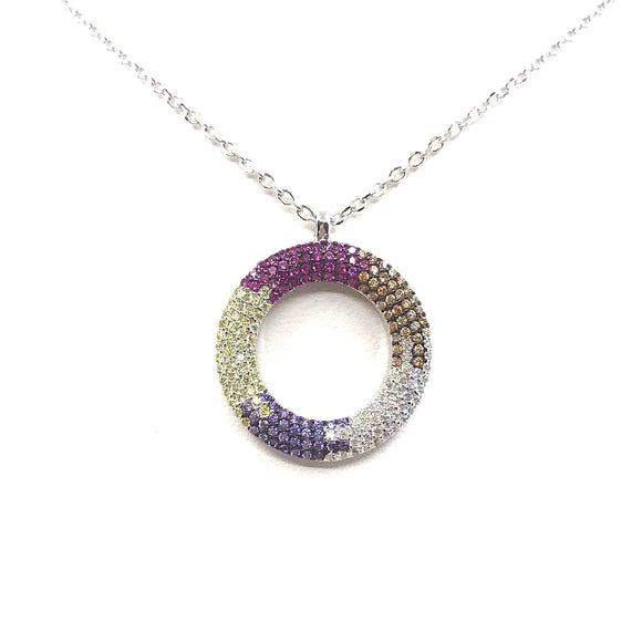 Sterling Silver Multicolor Circle Pendant