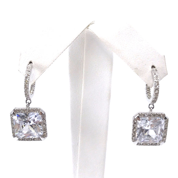 Sterling Silver Square CZ Earrings