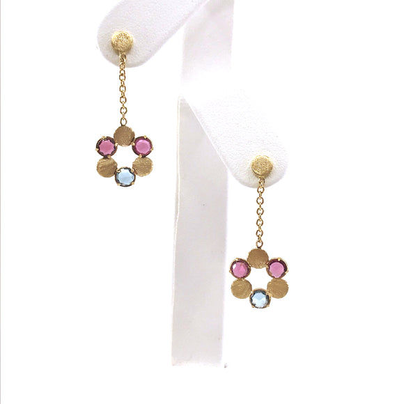 14k Multi Color Flower Earrings
