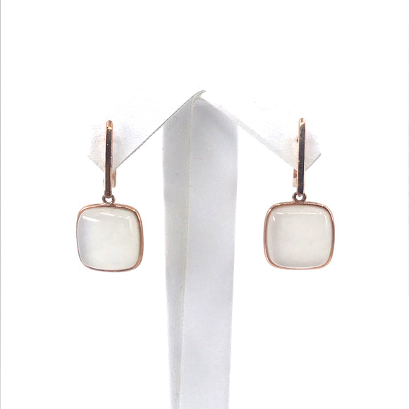 Sterling Silver Stone Square Earrings