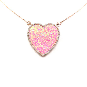 Sterling Silver Pink Opal Heart Necklace