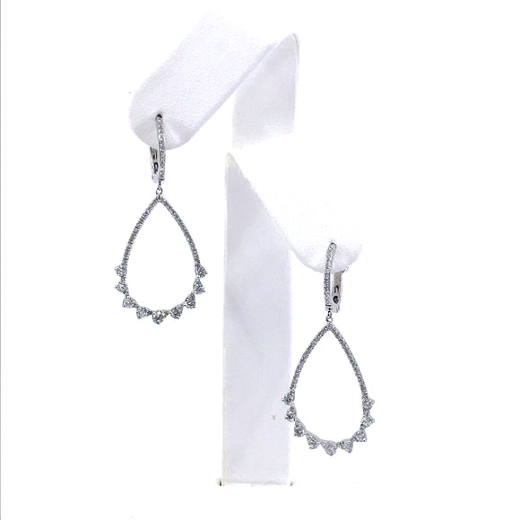 14K White Gold Diamond Teardrop Earrings