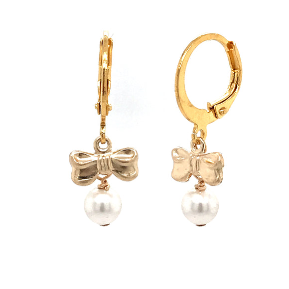 Surgical Steel Bow Pearl Earrings
