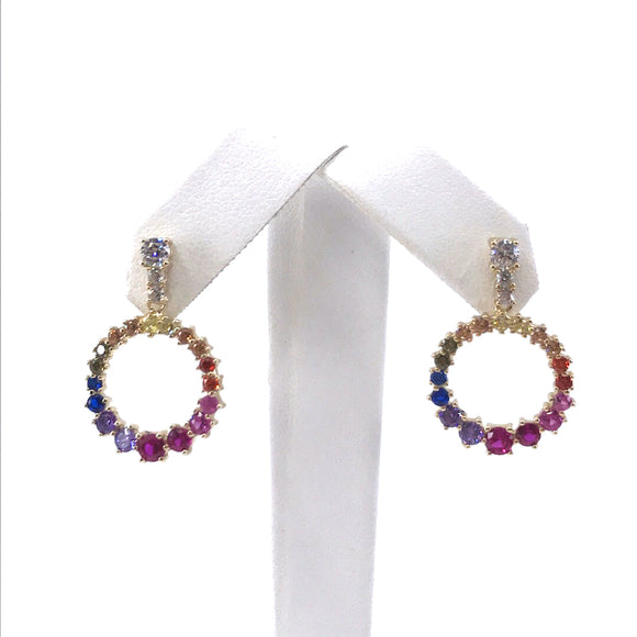 Sterling Silver Rainbow Circle Earrings
