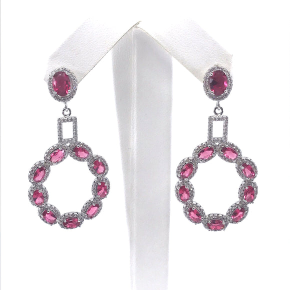Sterling Silver Pink Oval Earrings