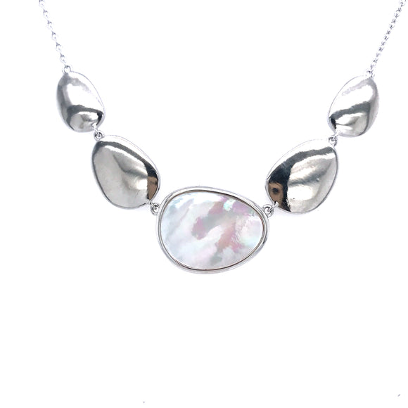 Sterling Silver Irregular Oval Necklace