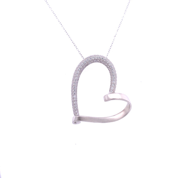 Sterling Silver Matte and CZ Heart Pendant
