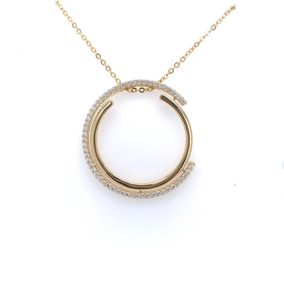 Gold And Micropave CZ Double Half Circle Pendant