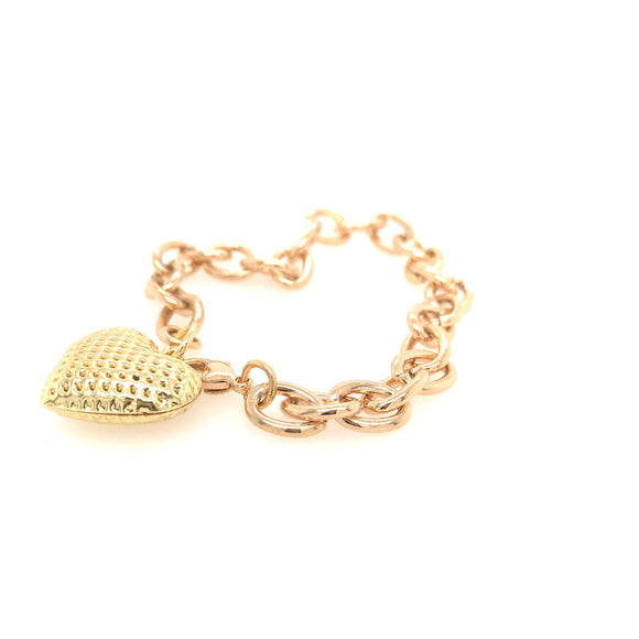 Gold Link Bracelet With Heart Charm