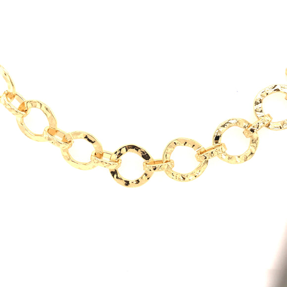 Gold Flat Hammered Rings Bracelet