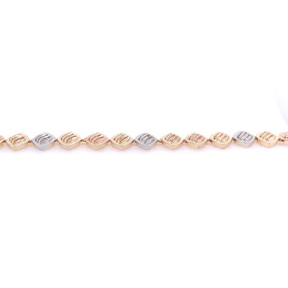 Lined Diamond Shapes Tricolor Bracelet