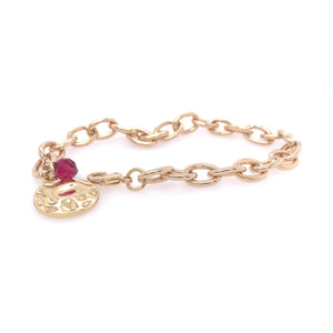 Gold Chain Bracelet With Coin Charm And Ruby Crystal