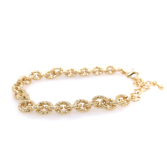 Goldplated Hammered Link Bracelet