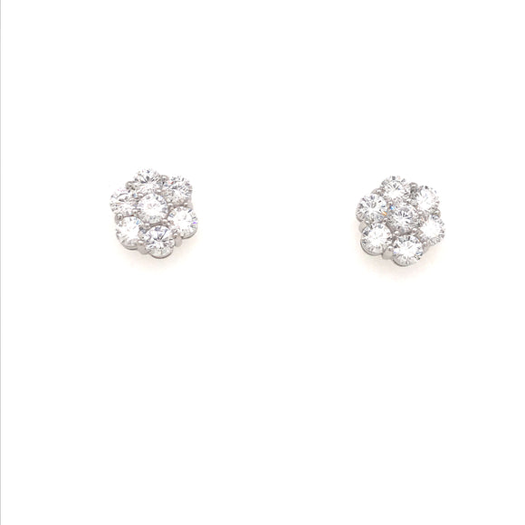 14K Gold CZ Flower Earrings