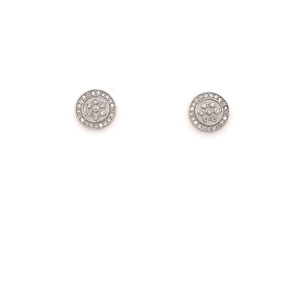 14K Gold Micropave Stud Earrings