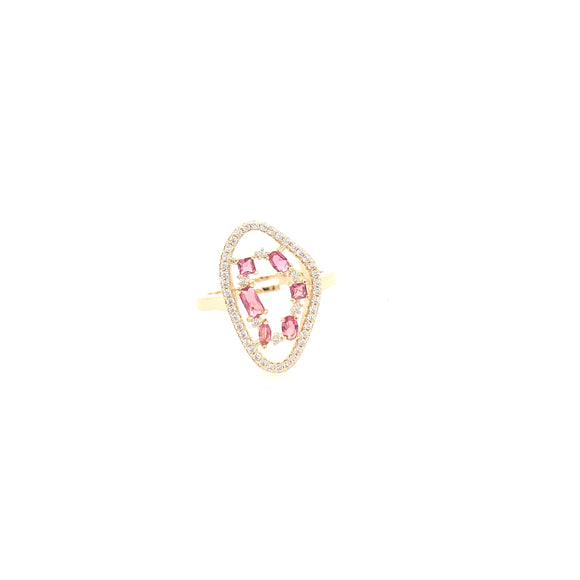 Gold Plated Ring In Natural Stone Shape With Micropave Stones