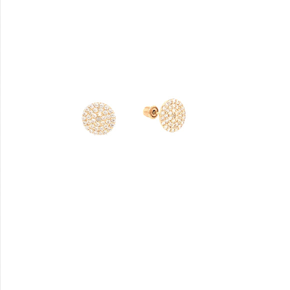 14K Gold Micropave Circle Stud Earrings