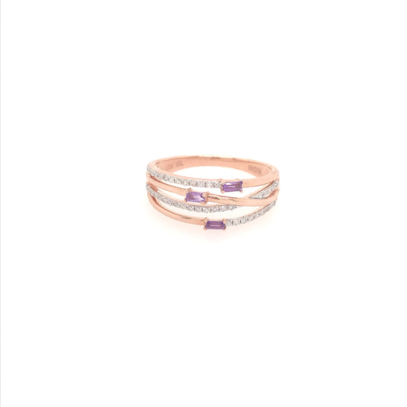 10k Rose Gold and Amethyst Stone Ring