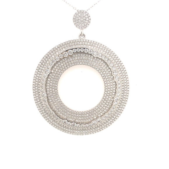 Sterling Silver Rhodium Plated Micropave Circle Pendant