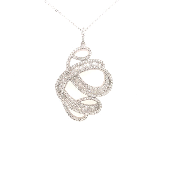 Sterling Silver Micropave And Baguettes Pendant