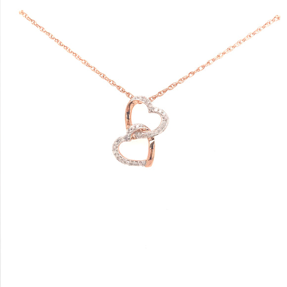 10K Rose Gold Micropave Double Hearts Necklace