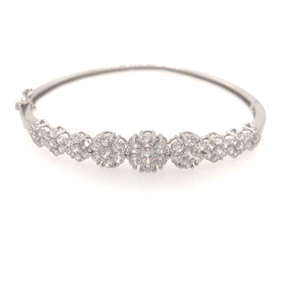 Sterling Silver Flower Shaped CZ Bangle Bracelet