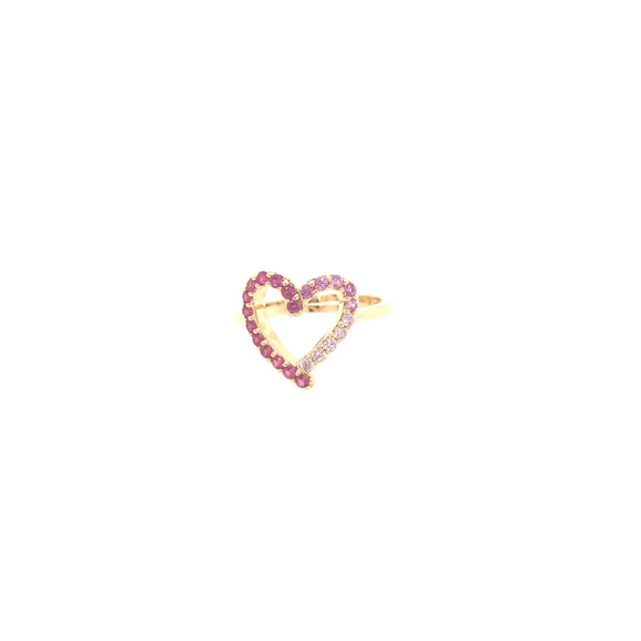 Goldplated Pink CZ Heart Ring