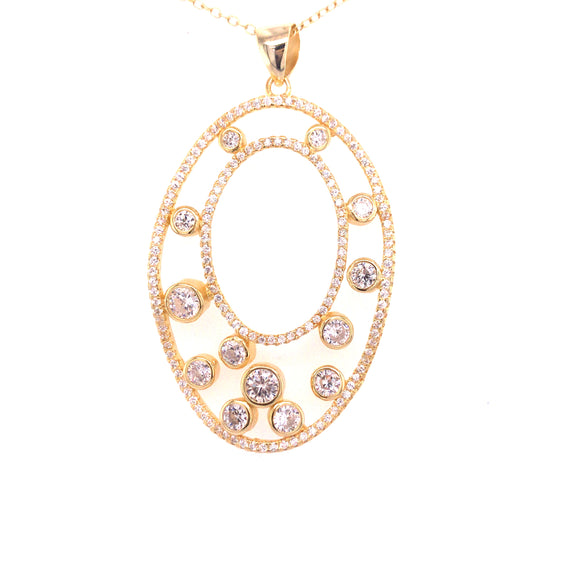Sterling Silver Gold Plated Oval CZ Pendant