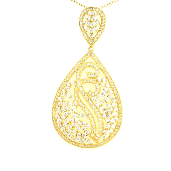 Sterling Silver Gold Plated Large Teardrop CZ Pendant