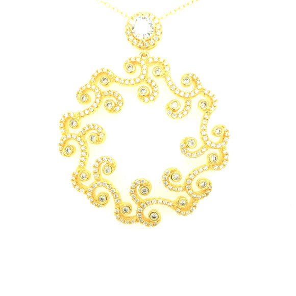 Sterling Silver Gold Plated Swirl Cz Pendant