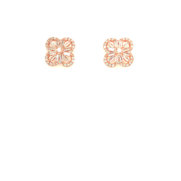 Sterling Silver Rose Gold Plated Clover Stud