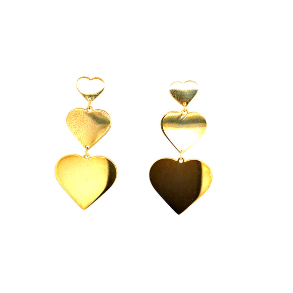 Sterling Silver Gold Plated Three Heart Earring