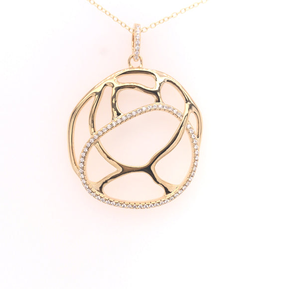 Sterling Silver Gold-Plated Round Pendant