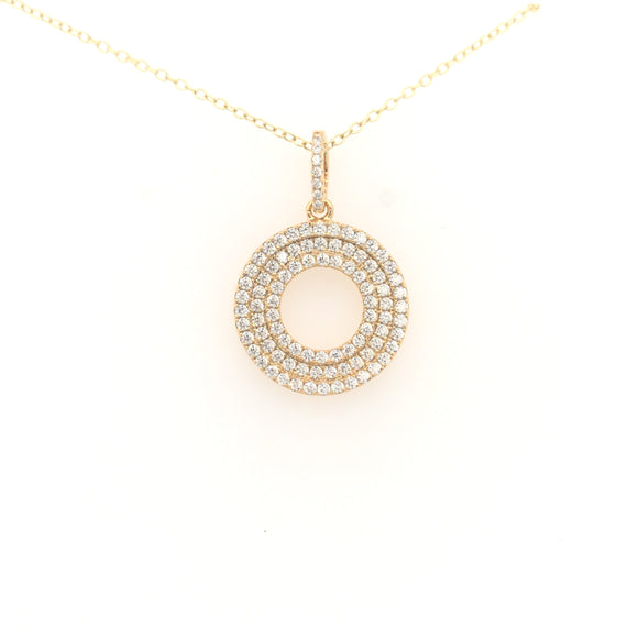 Sterling Silver Gold-Plated Micropave Circle Pendant